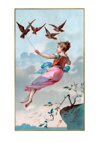 Girl flying held aloft by birds  INSIDE GREETING: Dwell in possibilities.  Take flight with this inspiring image. Reproduced from an early twentieth century postcard.     INSIDE GREETING: Dwell in the possibilities.  Our greeting cards are custom printed at our location in Seattle, WA. They come bagged with an envelope. We love illustration art from old children's books and early, printed ephemera. These cards reflect this interest in bringing delightful art back to life.