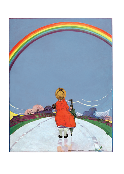 A Girl Walking Beneath A Rainbow This inspiring image comes to us from a magazine cover of the late 1920's.  Rainbows are so beautiful and so rare, it is fitting that they should hold such symbolic power.    Inside Greeting: Rainbows are on the way.   This illustration is from Maginel Wright Barney, a prolific children's illustrator and sister of Frank Lloyd Wright.