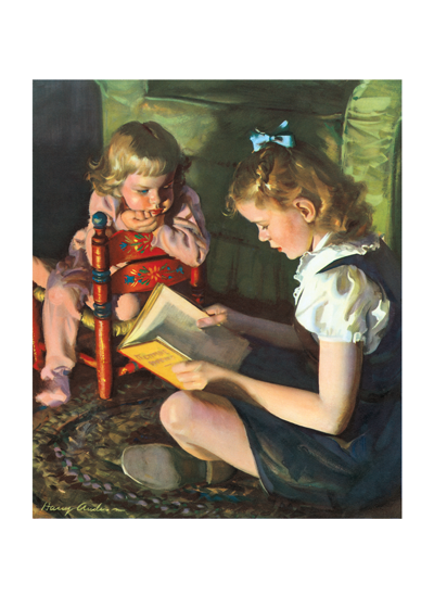Girls Reading  Inside Greeting: You are never too old for fairy tales.The love of reading is beautifully conveyed in this nostalgic image reproduced from a mid-century calendar.