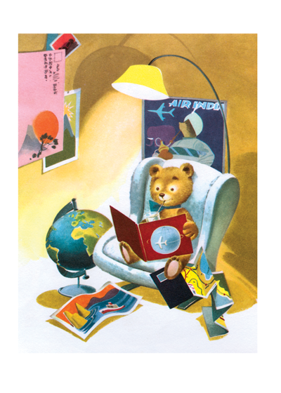 Teddy bear in armchair | Bon Voyage Travel Greeting Cards A teddy bear planning his travels - from a mid-century children's book - conveys best wishes for journeys of all kinds.