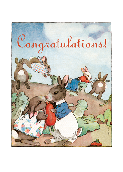 Bunnies Kissing in the Garden   OUTSIDE GREETING: Congratulations!  INSIDE GREETING: Congratulations on your engagement.  These affectionate rabbits hopped to us from a 1920's children's book.  Our greeting cards are custom printed at our location in Seattle, WA. They come bagged with an envelope. We love illustration art from old children's books and early, printed ephemera. These cards reflect this interest in bringing delightful art back to life.