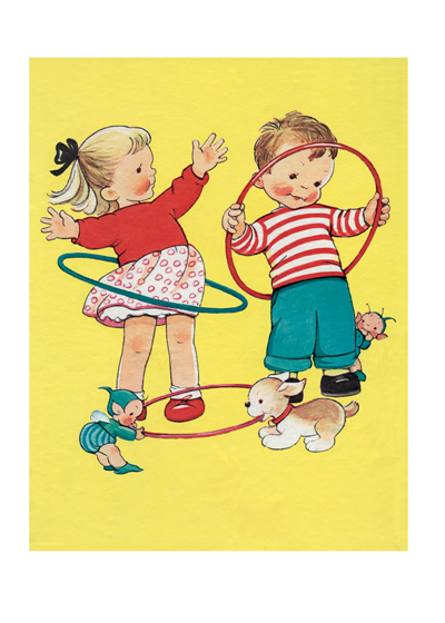 "Children With Hula Hoops | Children's Playtime Children Art Prints ""Mabel Lucie Atwell was masterful at capturing the joy of children playing and their friendships."