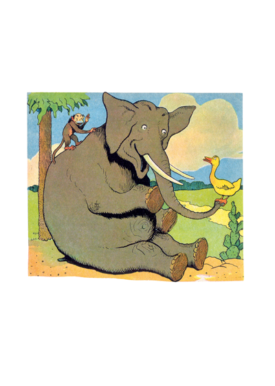 Elephant With Monkey The bonds of friendship are whimsically portrayed in this children's book illustration from Frenchman Benjamin Rabier.       These prints are made at our location in Seattle, WA. They have a thick, white backing board and are sealed in clear bags. Each is suitable for framing at 11 inches x 14 inches or can be used as is for wall display. Our goal is to bring back to life these wonderful illustrations from old-fashioned, children's books and from early advertising art.