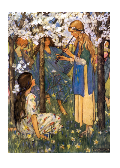 Young women playing music under flowering trees These lovely young ladies making music amongst the trees convey a message of peace and friendship.  Illustrator Florence Harrison was influenced by the Pre-Raphaelites.    Inside Greeting: Wishing you a day full of simple pleasures.  Our blank notecards are custom printed at our location in Seattle, WA. They come bagged with an envelope. We love illustration art from old children's books and early, printed ephemera. These cards reflect this interest in bringing delightful art back to life.