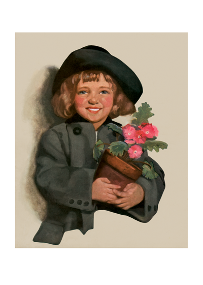 A Girl With A Pot of Pink Flowers This smiling young lady, who conveys thanks in a most charming way, is from an early 20th century magazine cover.     Inside Greeting: Thank You! Thank You! Thank you!