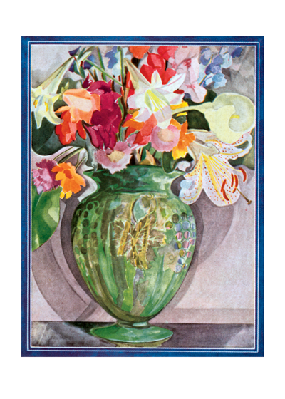Green vase of flowers | Thank You Greeting Cards This beautiful floral image was reproduced from an early 20th century advertisement.