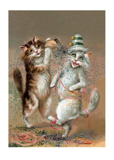 Two Cats Dancing With Confetti | Congratulations Greeting Cards