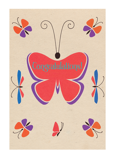 Art Deco Congratulations Butterfly  | Congratulations Greeting Cards A mid-century French encylopedia book was the source of this fine French butterfly, or papillon.  Outside Greeting: Congratulations