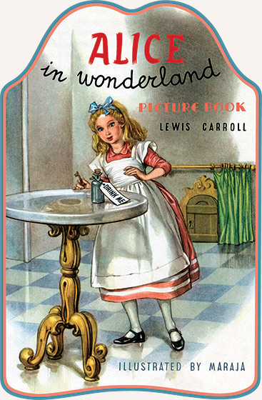 Alice In Wonderland Picture Book Lewis Carroll's duo of novels about a girl named Alice and her surreal adventures have been popular since their publication in 1865 ({Alice's Adventures in Wonderland}) and 1871 ({Through the Looking-Glass, and What Alice Found There}). Neither book has ever been out of print. But many parents find the originals too difficult for young children, and thus the publication of many simplified and abridged versions of Alice. Our {Alice in Wonderland Picture Book} features illustrations of several major episodes of the story from Italian mid-century illustrator Maraja. Accompanying these vibrant images is a very simple text. It serves as a marvelous introduction to Carroll's world of marvelous madness.   Biographical Note: Libico Maraja (pen name Maraja) (1912 - 1983) was an Italian illustrator best known in the United States and the U.K. for his lively illustrated versions of such classic books as {A Christmas Carol,} {Gulliver's Travels,} {The Seven Voyages of Sinbad the Sailor,} {Tales from Hans Andersen,} and many more. His career in Italy was long and diverse. In addition to his successful book illustration career, Maraja lent his talents to advertising art, sheet music design, comic books, and postage stamp art. He was the chief set designer and animator for one of Italy's first animated films - {The Rose of Baghdad} - (1941) and also designed sets and costumes for ballets.