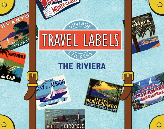 The Riviera Travel Labels This box contains 20 individual peel-and-stick labels that are suitable for scrapbooking, decoupage, gift wrapping and wherever your stickering imagination takes you.  The Riviera is that section of the Mediterranean coastline from Toulon, France, through Monaco to the Italian Gulf of Genoa. The Riviera is a world-renowned vacation destination, and its hotel labels picture the sea, the sun, and evoke luxury and glamor.'  Destinations include Cap d'Antibes, Nice, Cannes, Liguria and Monte Carlo.