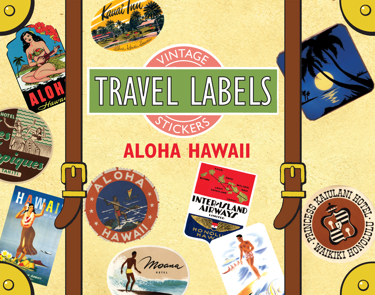 Aloha Hawaii Travel Labels This box contains 20 individual peel-and-stick labels that are suitable for scrapbooking, decoupage, gift wrapping and wherever your stickering imagination takes you.'  Aloha, vintage image lovers! Hawaii, the vacation mecca of the Pacific, may be the last state to enter the Union, but it is a leader in the category of natural beauty.' All the icons we associate with a vacation in this island paradise  surfers, hula dancers, palm trees, an abundance of tropical flora  are represented in this selection, culled from our treasure trove of vintage travel ephemera by our kahunas of images.