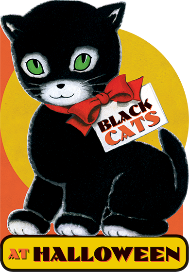 Black Cats At Halloween {Black Cats At Halloween} features many vintage Halloween illustrations.   This addition to our popular series of shaped books for children is a happy story about the activities of one of Halloween's most durable icons  the black cat. It shows how fully they enter into the spirit of the holiday. We see black cats with their fellow Halloween iconsjack-o-lanterns, witches of all varieties, and owls. They join children in their trick or treat rounds, and do their best to be scary. Some wear costumes, and in the spirit of the holiday, frolic and dance. Black kittens join the celebration with their feline elders. We have illustrated this charming book with a variety of vintage Halloween images, including rare vintage postcards.