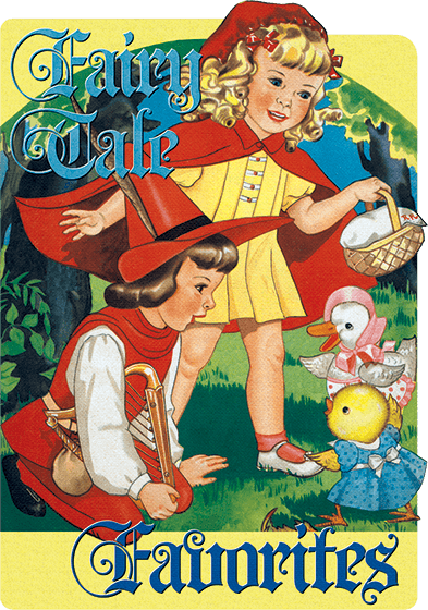 Fairytale Favorites Eight classic fairy tales, each condensed to two pages, accompanied by classic vintage illustrations.   Our popular series of shaped book is intended for younger readers. The books, and their texts, are brief, and the illustrations dominate the books. They serve as introductions to classic stories for early readers. {Fairy Tale Favorites} consists of eight fairy tales, each condensed into two colorful and delightful pages by mid-century American illustrator Florence Salter. Her illustrations for Little Red Riding Hood, Jack and the Beanstalk, Cinderella, Chicken Little, This is the House that Jack Built, Sleeping Beauty, The Old Woman and Her Pig and The Frog Prince are simple and friendly, suitable for the youngest readers.