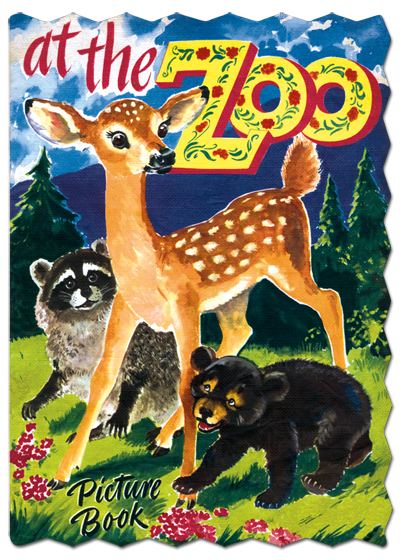 At The Zoo Picture George Trimmer (the creator of our Farm Babies) has here created a picture book of zoo animals, which we think perfectly suited for young children. The emphasis is on the animals in a family setting, without bars or zookeepers. Lion babies relax with their mother and father on one page, while a zebra colt frolics with a parent by moonlight on another, while a baby elephant endures a bath on still another page. The text is simple, and is accompanied by delightful smaller images. This is a book for the earliest readers and parents to share.