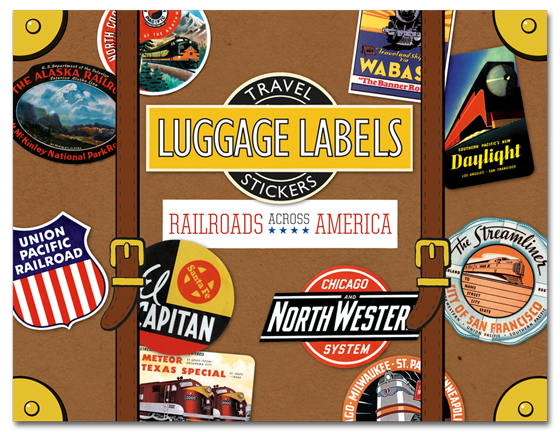 Railroads Across America Travel Labels Twenty die-cut labesl from America's greatest trains and railroad lines.  In some sense the history of the railroad in the United States is a history of 19th and 20th century America. The railroad joined one coast to another, bridged the gap between rural and urban, and moved goods and people at a high rate of speed. Travel labels were created around the middle of the 19th century, to identify trunks on ocean liners and direct them to their staterooms. Eventually the custom expanded to trains, hotels and eventually airplanes, and travel companies realized the labels' marketing potential. Travel labels are widely collected both for their design and historical interest. Our {Railroads Across America} Labels Box contains twenty die-cut labels from railroad lines both familiar, such as The Santa Fe, New York Central, Burlington and Union Pacific, and lesser-known lines like The Southern, Wabash, Frisco and Maine Central. We have also included labels from beautiful individual trains with such evocative names as The Zephyr, Hiawatha and The Streamliner.