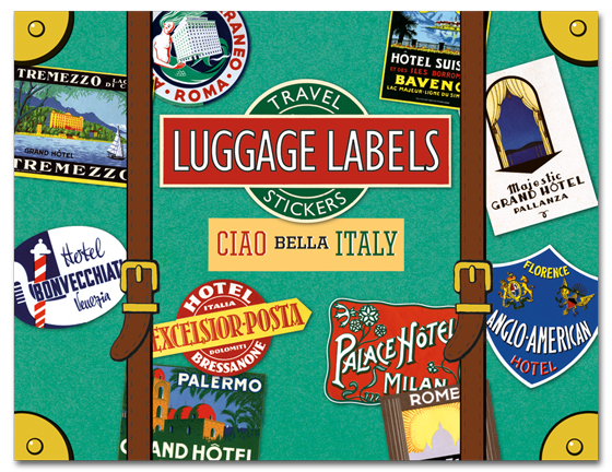 Ciao Bella Italy Travel Labels Twenty vintage travel labels that celebrate Bella Italia and its rich travel heritage.  Ah, Italy. Italy's legacy of classical antiquity, its astounding food, natural beauty, andof courseits art make this beautiful country one of the world's most popular travel destinations, a status it has held been for a very long time. Indeed, as long as three hundred years ago travelers included Italy on their Grand Tour itineraries. Travel labels were created around the middle of the 19th century, to identify trunks on ocean liners and direct them to their staterooms. Eventually the custom expanded to trains, hotels and eventually airplanes, and travel companies realized the labels' marketing potential. Travel labels are widely collected both for their design and historical interest. We've selected twenty vintage travel labels that celebrate Bella Italia and its travel heritage. Destinations include Palermo, Rome, Florence, Milan, Lake Como, Pallanza (in the Piedmont region) and Venice and more.