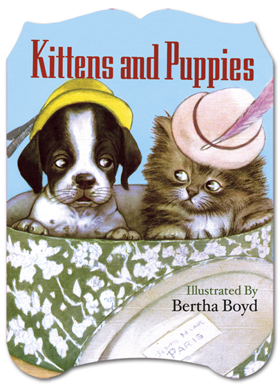 Kittens and Puppies Mid-century picture book featuring adorable young animals and their sweet adventures.  The adventures of Pepper, Snowdrift, Cottonball, Mitzie and all the other adorable kittens and puppies is conveyed in this mid-century picture book, delightfully illustrated by Bertha Boyd. The young animals find themselves in various scrapes, such as exploits with mom's sewing basket, unwanted baths and trying on some fashionable hats. {Puppies and Kittens} is suitable for young readers, and will delight anyone with an interest in vintage book illustration.