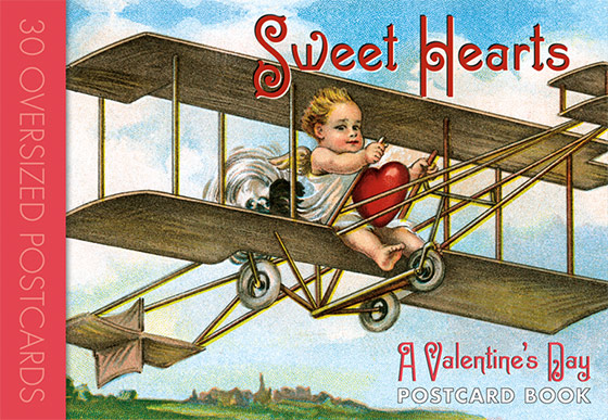 Sweet Hearts Postcard Book Thirty of our favorite heart-centric postcards, the most important of Valentine's Day symbols.  From the beginning of Valentine's Day as a popular holiday in the 19th century to the present day, the heart as a graphic symbol representing the human heart has been the most iconic and important of all the symbols of Valentine's Day, and indeed of romantic love in general. During the picture postcard's golden era, approximately the first two decades of the 20th century, millions of Valentine's Day postcards were produced, sent and cherished. A great number of these featured hearts in all manner of guises. For our {Sweet Hearts: A Valentine's Day Postcard Book} we have selected thirty of our favorite heart-centric postcards. We offer hearts with thermometers, heart houses, heart airplanes, heart boats and heart musical instruments. This postcard book also features heart garlands, smiling hearts, boxes of hearts and hearts drying on the clothesline.