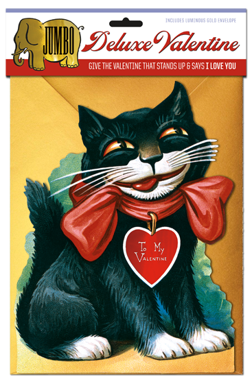 Smiling Cat Deluxe Valentine Give the Valentine that stands up and says I Love You.   Our {Smiling Cat Deluxe Valentine} is, at eight by ten inches, big, and conveys your Valentine's Day wishes in a big way. A reproduction of a Victorian greeting card, this beautiful token of love is printed on heavy cardstock and is equipped with an easel, so it can be enjoyed long after the festivities of February 14 have concluded. A luminous gold envelope accompanies this unique token of love.