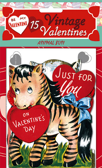 15 Vintage Valentines: Fun With Animals Die-cut retro valentines!  15 unique die-cut reproductions of vintage valentines featuring adorable animals and sweet children, plus printed envelopes, our {Fun With Animals} card packet brings the whimsy on Valentine's Day.  Each of the fifteen images was carefully selected and reproduced from Laughing Elephant's treasure trove of antique paper ephemera.  Our six Valentine's Day card packets, each only $11.95, include 15 different die-cut cards with decorated envelopes. The cards measure approximately four by six inches.