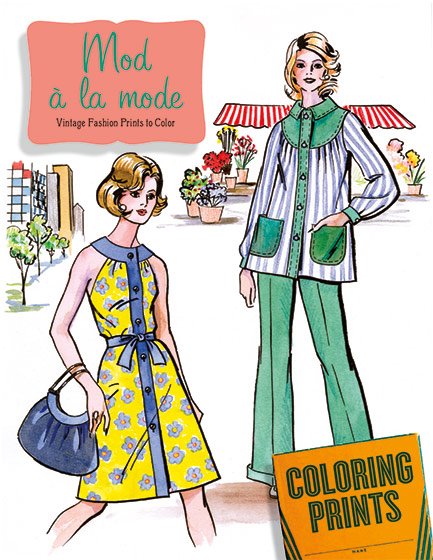 Mod ala Mode | Coloring Out of Print Can you dig it, check out these fifteen images of sixties and seventies fashion to color, keep, share and enjoy. The late-middle twentieth century was largely a time of optimism, social change and creative freedom, a mood reflected in the fashion of this era. Colors were bright, and silhouettes could vary wildly from season to season. As the 1950s moved into the 1960s and beyond fashion turned its eye towards the youth market, and a much wilder aesthetic dominated; skirts became shorter, prints bolder, and rules of all kinds were abandoned. For this coloring portfolio, we hunted through our treasure trove of pattern catalogs and magazines from the sixties and seventies, seeking out the funkiest, grooviest, wackiest and most fashionable images for coloring enthusiasts of all skills.