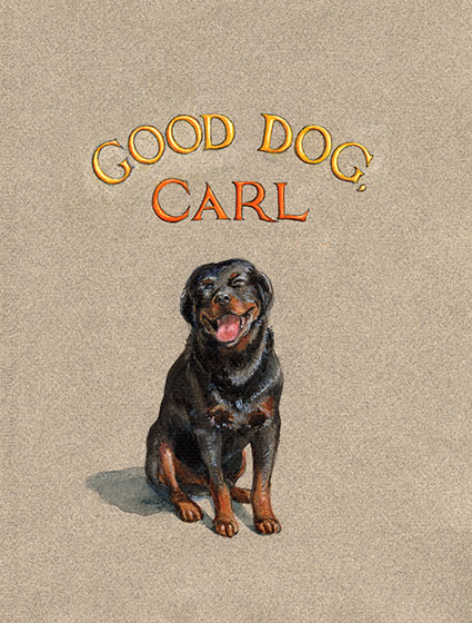 Good Dog, Carl (Signed) Carl is every child's favorite Rottweiler, the dog with the dexterity and responsibility of an adult. Carl takes care of the baby Madeline when her mother is away. Lunch is bread and butter on the floor, followed by a quick hop in the tub, a speedy blow dry and back into the crib just in time for Mom's reappearance.Success of this book is dependent on reproduction of the drawings, which is exquisite. - (Union-Tribune)  THIS BOOK IS SIGNED BY ALEXANDRA DAY & WITH A STAMP-PRINT OF THE REAL CARL'S PAW.