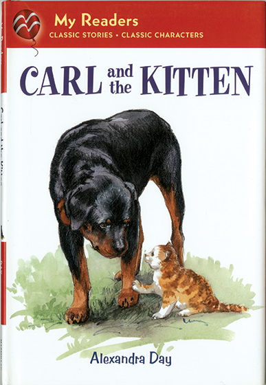 Carl and the Kitten (Signed) One of Mama Cat's kittens is in trouble. Kitten climbed a tree and can't get down! How can Carl help?   Alexandra Day's beloved rescuer, Carl, is back in this story created especially for beginning readers