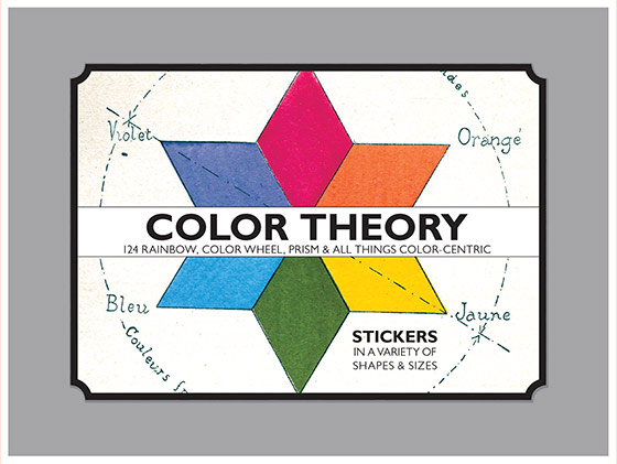 Color Theory  Sticker Box 124 Stickers (3 each of 7 Sticker Sheets + 1 Jumbo die cut vintage labels in a box - featuring color wheels, prisms, color charts and everything under the rainbow!  Proudly made in Seattle, with high-quality paper, and packaged in a deluxe keepsake box.