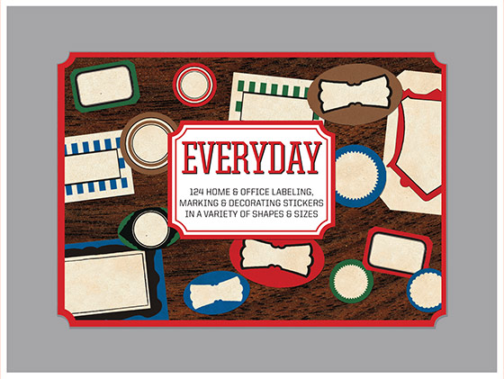Everyday Labels Sticker Box | Everyday Stickers 124 Stickers (3 each of 7 Sticker Sheets + 1 Jumbo die cut vintage labels in a box - featuring a wide variety of labels for everyday use in marking, packaging and identifying.  Proudly made in Seattle, with high-quality paper, and packaged in a deluxe keepsake box.