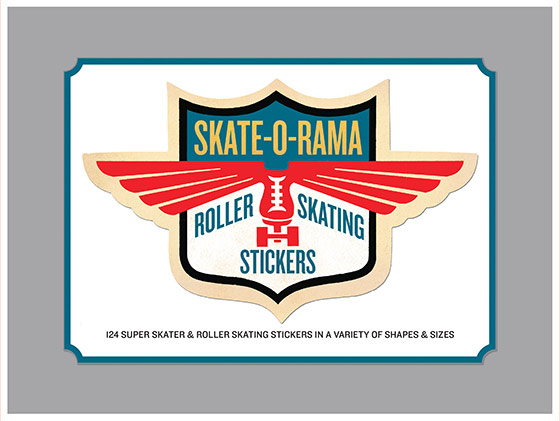 "Skate-O-Rama Everyday Stickers | Everyday Stickers ""124 Stickers (3 each of 7 Sticker Sheets + 1 Jumbo die cut vintage labels in a box - celebrating the golden age of roller skates, roller skating, roller derbys and all manner of wheeled shoe fun.  Proudly made in Seattle, with high-quality paper, and packaged in a deluxe keepsake box. """