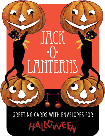 Jack-o-Lanterns - Boxed Greeting Cards Jack-o-Lanterns are our favorite part of Halloween and we here offer eight of our favorite antique images as notecards, packaged in a delightful shaped box.  Perfect for Halloween correspondence.