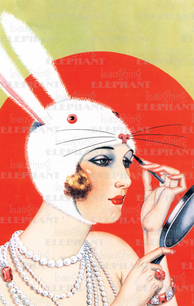 Lady in a Rabbit Costume Pocket Mirror Originally $8.95, Now $4.95! We at Laughing Elephant ascribe to the philosophy that everything in one's life should be as beautiful as possible. This seems an especially appropriate rule for those little essentials women tend to carry in their bags: cosmetics, a brush or comb, a case for one's glasses. Thus we have created Lovely To Look At pocket mirrors graced with beautiful and appropriate images. The mirrors close with a magnetic clasp, so they remain protected in the often dangerous environs of a purse, but open with a mere flip of the finger. The mirror cases are made from sturdy cardboard covered in laminated paper, this particular onea lady in a rabbit costume putting on makeup.