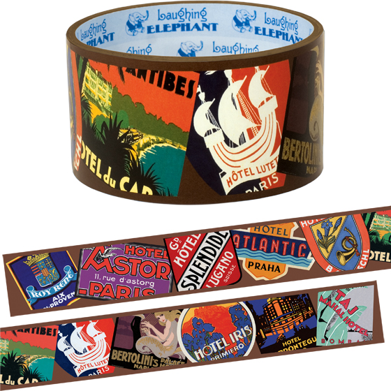 Bon Voyage - Tape | Web Specials Originally $6.95, now $3.95! Package wrappers rejoice! No more boring tape. This roll is 66 feet in length and features a collection of our favorite vintage luggage and travel labels.