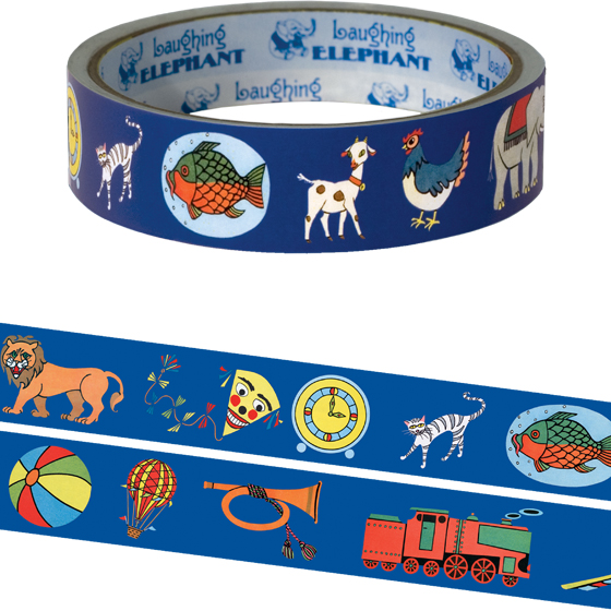 Playtime Tape Originally $4.95, Now $1.95! Package wrappers rejoice! No more boring tape. This roll is 66 feet in length. This tape features iconic toys and images of early childhood.