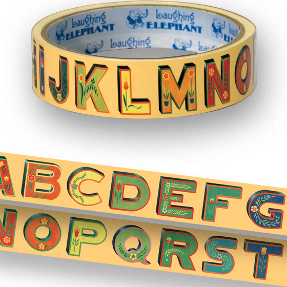Decorative Alphabet Tape | Web Specials Originally $4.95, Now $1.95! Package wrappers rejoice! No more boring tape. This roll is 66 feet in length. The alphabet song is now available in handy tape form, thanks to The Laughing Elephant!