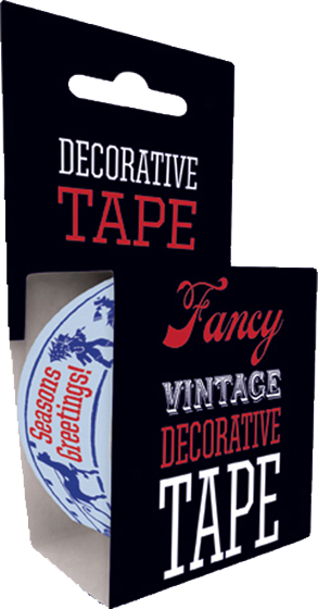 Victorian Holiday Tape   Originally $4.95, Now $2.95! Our Victorian Holiday Tape is just the thing for any holiday gift or package. Adorned with charming holiday revelers skiing and sleighing, our decorative tape is 49.2 feet long and fits standard one-inch tape dispensers.