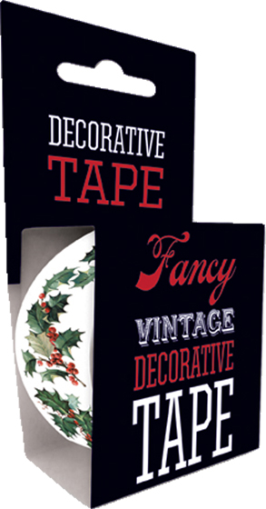 Victorian Holly Tape | Web Specials Originally $4.95, Now $1.95! Package wrappers rejoice! No more boring tape. This roll is 66 feet in length. This roll features a pleasing pattern of intertwined flowers and vines. Will look great looped around a box or criss crossed on a wrapped present.