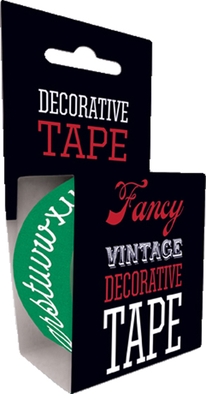 Chalk Board Tape Originally $4.95, Now $1.95! Package wrappers rejoice! No more boring tape. This roll is 49.2 feet in length. This roll features a an alphabet made to look like letters written on a chalk board. Will look great looped around a box or criss crossed on a wrapped present.