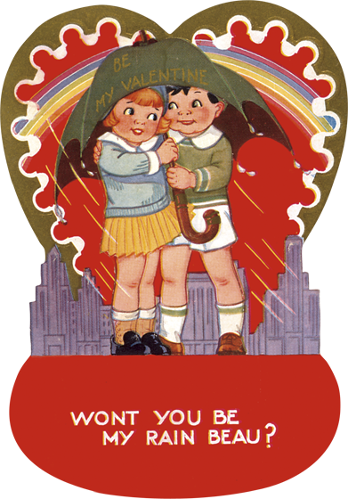 Umbrella Valentine's Day Die Cut Card | Classic Valentine's Day Greeting Cards Won't You Be My Rain Beau?
