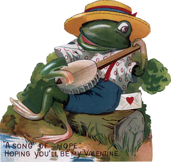 Frog Playing Banjo Valentine's Day Die-Cut Die cut card, bagged, includes a decorative envelope.