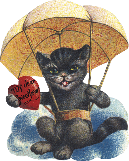 Cat in Parachute | Classic Valentine's Day Greeting Cards Die cut card, bagged, includes a decorative envelope.