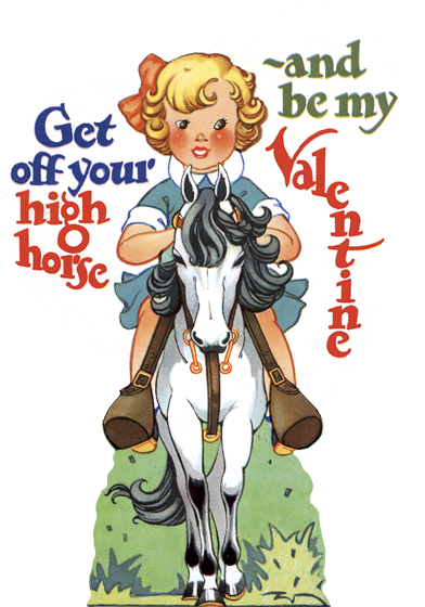 Girl on Horse Die Cut Valentine | Classic Valentine's Day Greeting Cards Die cut card, bagged, includes a decorative envelope.