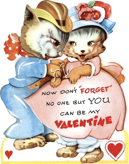 Cat Couple Die Cut Valentine   Classic Valentine's Day Greeting Cards Die cut card, bagged, includes a decorative envelope.