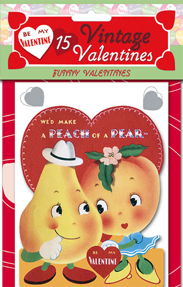 15 Vintage Valentines: Funny Valentines Die-cut retro valentines!  15 unique die-cut reproductions of vintage valentines featuring adorable animals and sweet children, plus printed envelopes, our {Funny Valentines} card packet brings the whimsy on Valentine's Day.  Each of the fifteen images was carefully selected and reproduced from Laughing Elephant's treasure trove of antique paper ephemera.  Our six Valentine's Day card packets, each only $11.95, include 15 different die-cut cards with decorated envelopes. The cards measure approximately four by six inches.