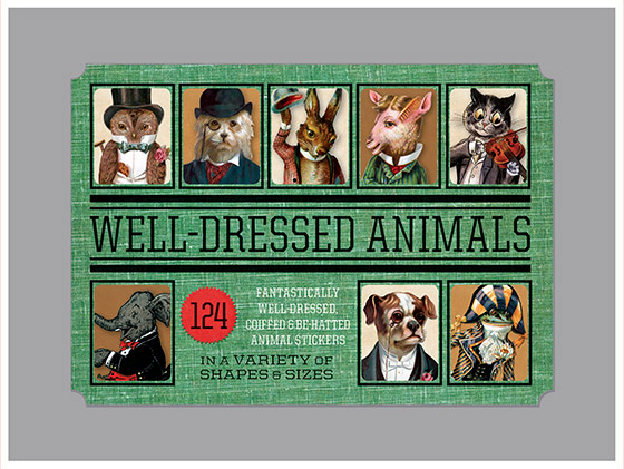 Well Dressed Animals Sticker Box | Everyday Stickers 124 Stickers (3 each of 7 Sticker Sheets + 1 Jumbo die cut vintage labels in a box - featuring all manner of animals dressed beautifully