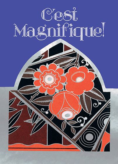 C'est Magnifique!  OUTSIDE GREETING: C'est Magnifique!  BLANK INSIDE  A greeting with an Art Deco flower design in orange, black and gold foil.  Our notecards are custom designed at our location in Seattle, WA. They come bagged with an envelope. We love illustration art from old children's books and early, printed ephemera. These cards reflect this interest in bringing delightful art back to life.
