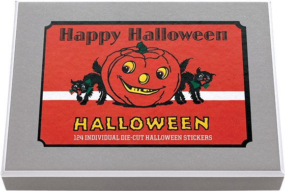 Happy Halloween Sticker Box 24 Sheets, 124 individual stickers die cut vintage labels in a box - featuring classic vintage Halloween imagery.  Wicked witches, spooky ghosts, pleasant pumpkins, and all other themes Hallowween adorn this abundant selection of stickers in a variety of shapes and sizes, perfect for any Halloween project or party.  Made in America with high quality paper, envelopes and packaged in a deluxe, keepsake box.