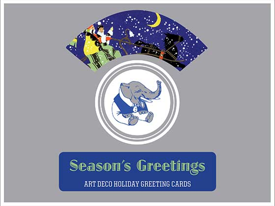 Season's Greetings - Art Deco Christmas Greeting Cards 8 classic Season's Greeting Cards drawn from the stylish wintery wonderland of the Art Deco era, 2 each of 4 designs with Envelopes.  Depicting sleighs being pulled, visits of Christmas cheer, holly and wreaths, all in Art Deco style and color, these cards will make a perfect compliment to a stylish Christmas correspondence.  Made in America with high quality paper, envelopes and packaged in a deluxe, keepsake box.
