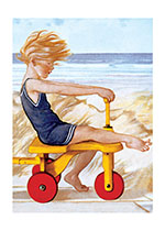 Child Playing at The Beach (Children's Playtime Children Art Prints)