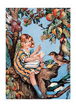 Girl Reading To Birds (Books and Readers Art Prints)